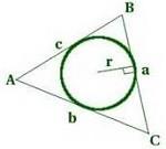 Вычисление площади треугольника со вписанной окружностью